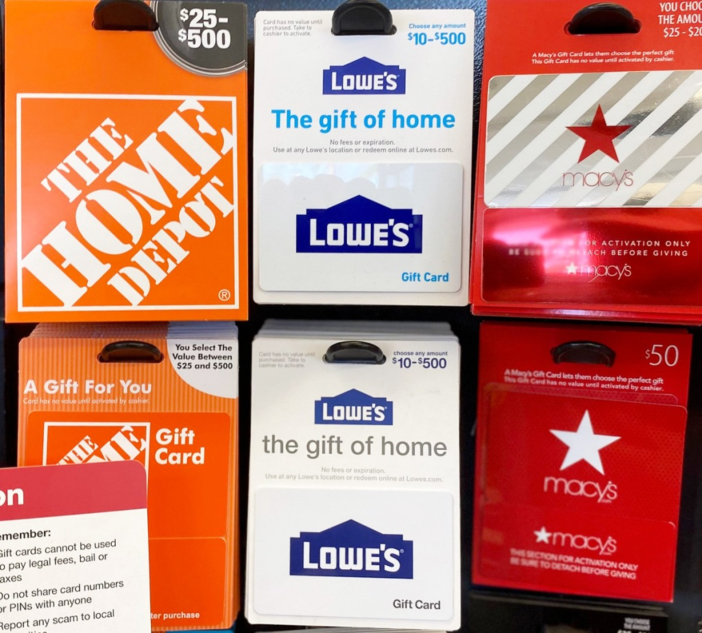 gift card display rack with home depot, lowe's and macy's gift cards