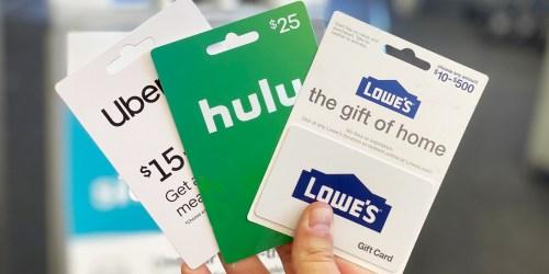 Free $5 Walgreens Gift Card w/ Gift Card Purchase | Lowe's, Uber, Hulu & More