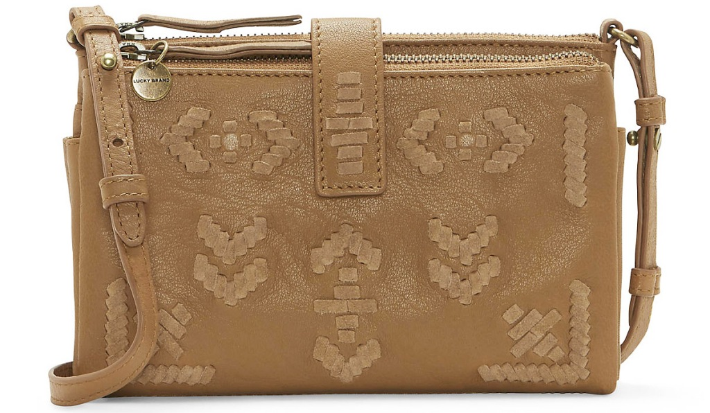 brown leather crossbody bag with chevron pattern