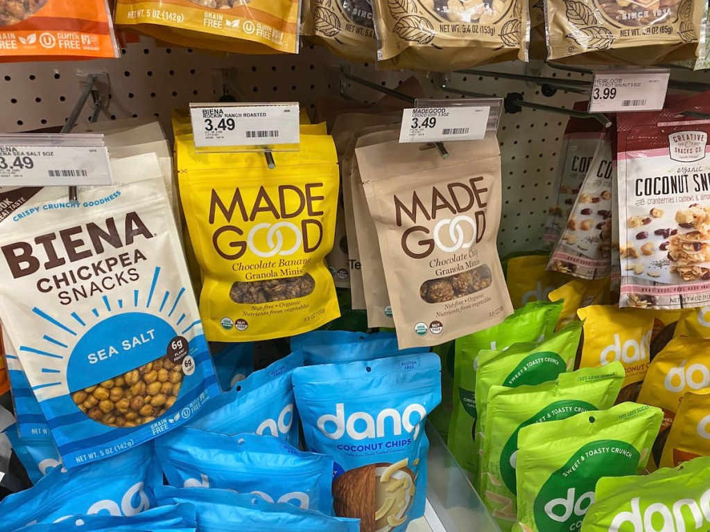 bags of made good granola on shelf at target