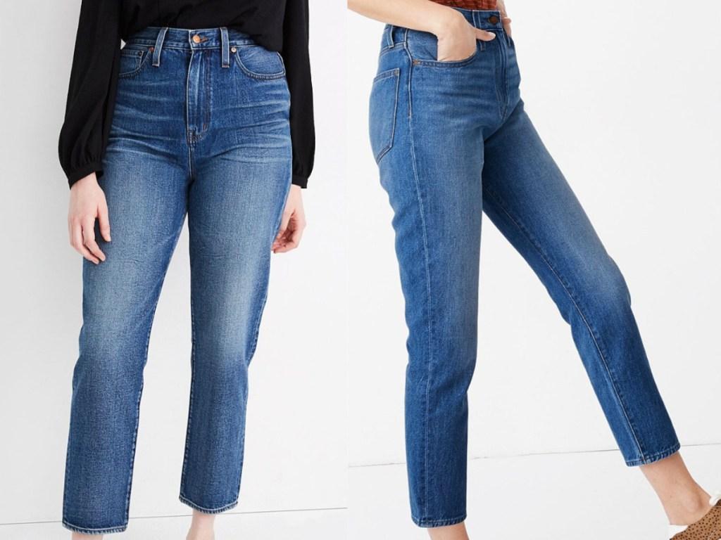 2 women wearing denim cropped jeans
