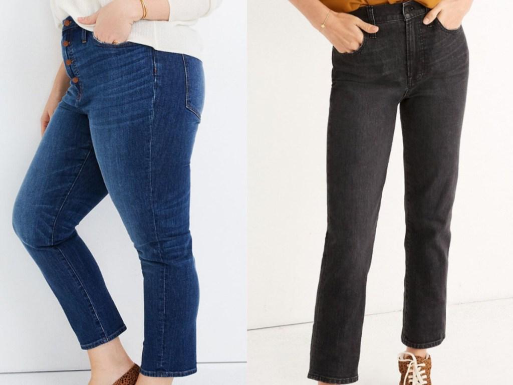 2 women wearing cropped jeans