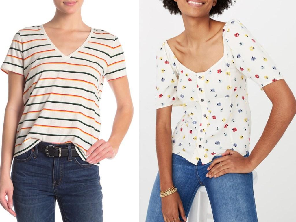 2 women wearing short sleeve tops