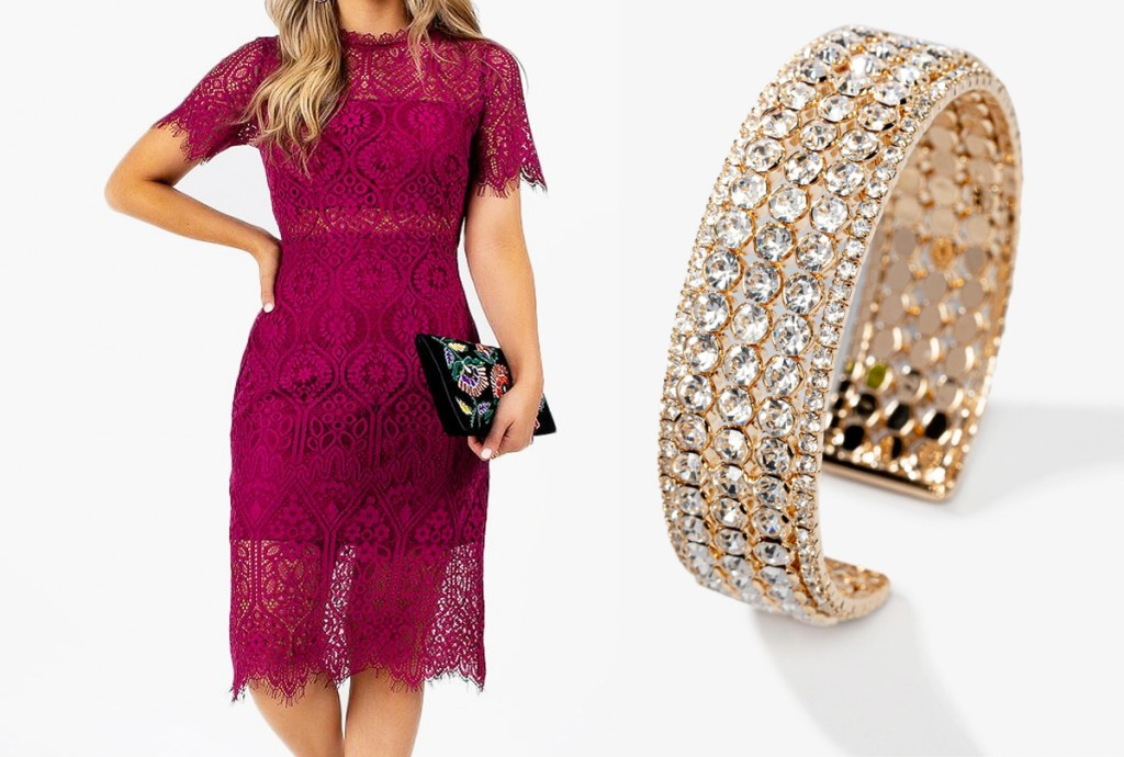 woman in maroon lace dress with gold rhinestone cuff bracelet next to her