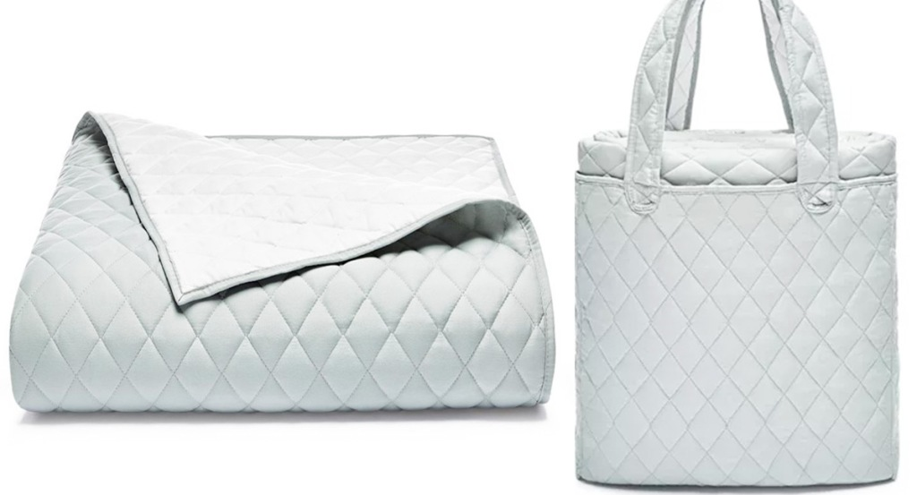 light grey quilt with matching tote bag