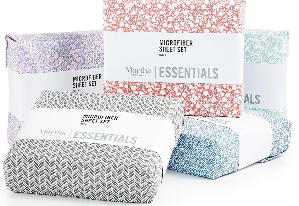 martha stewart sheet sets in various prints and colors