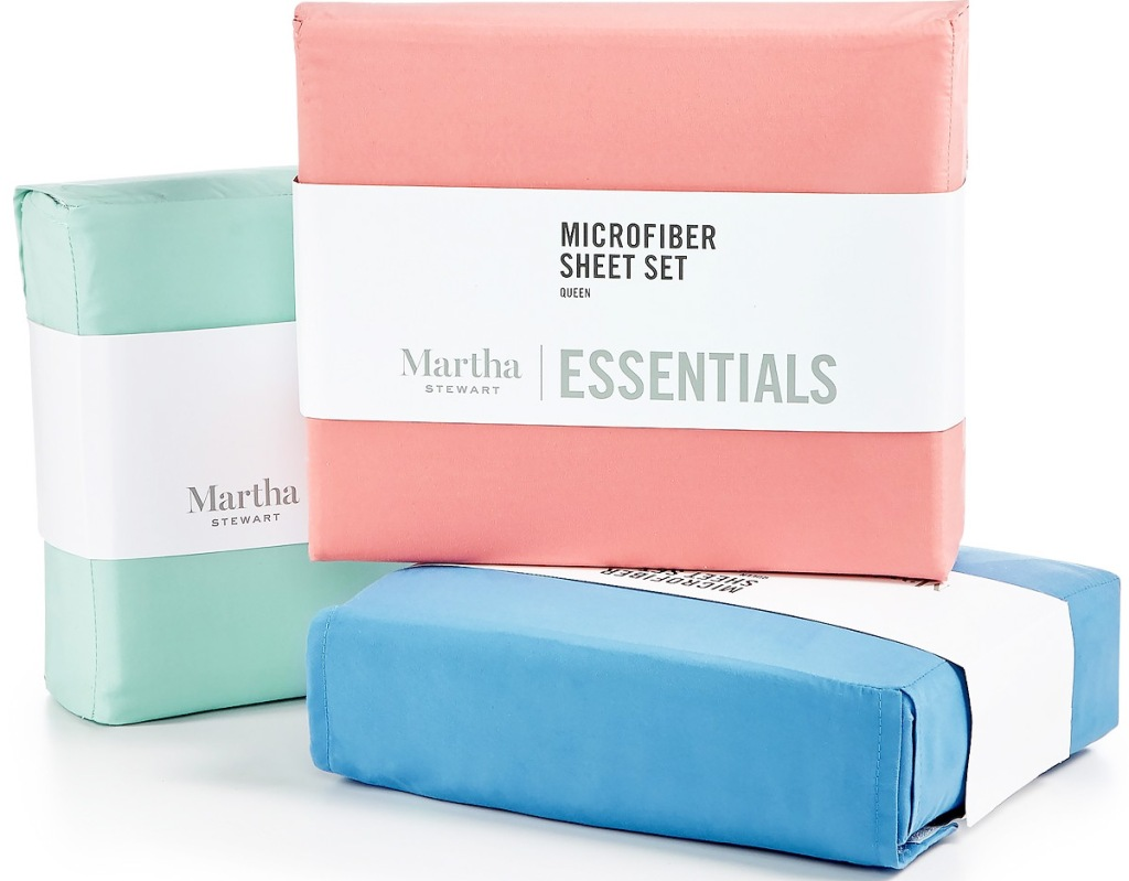 martha stewart sheet sets in light green, pink, and blue colors