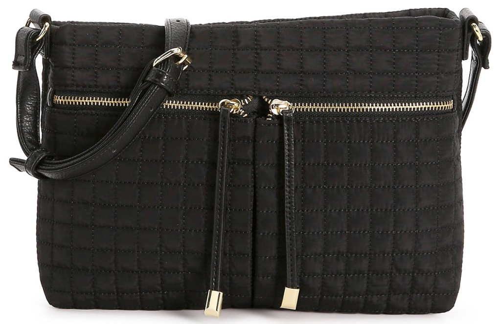 black leather crossbody bag with square print and two zippers on front