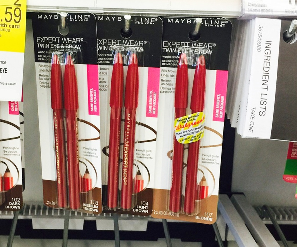 store display of red 2-packs of maybelline brow pencils