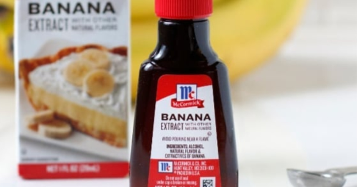 McCormick Banana Extract bottle and box in background
