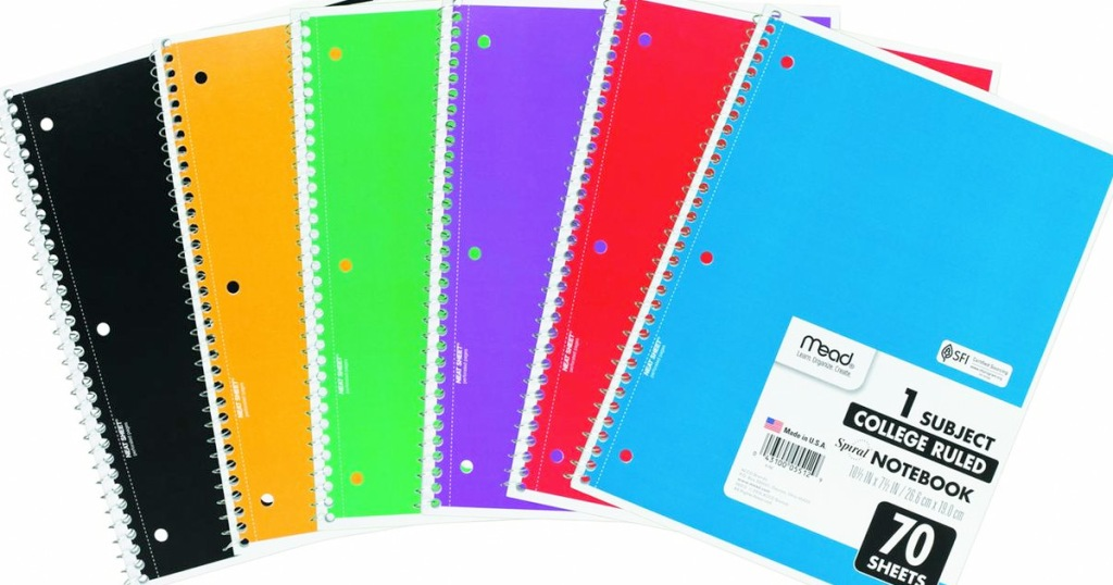 mead spiral notebooks in assorted colors