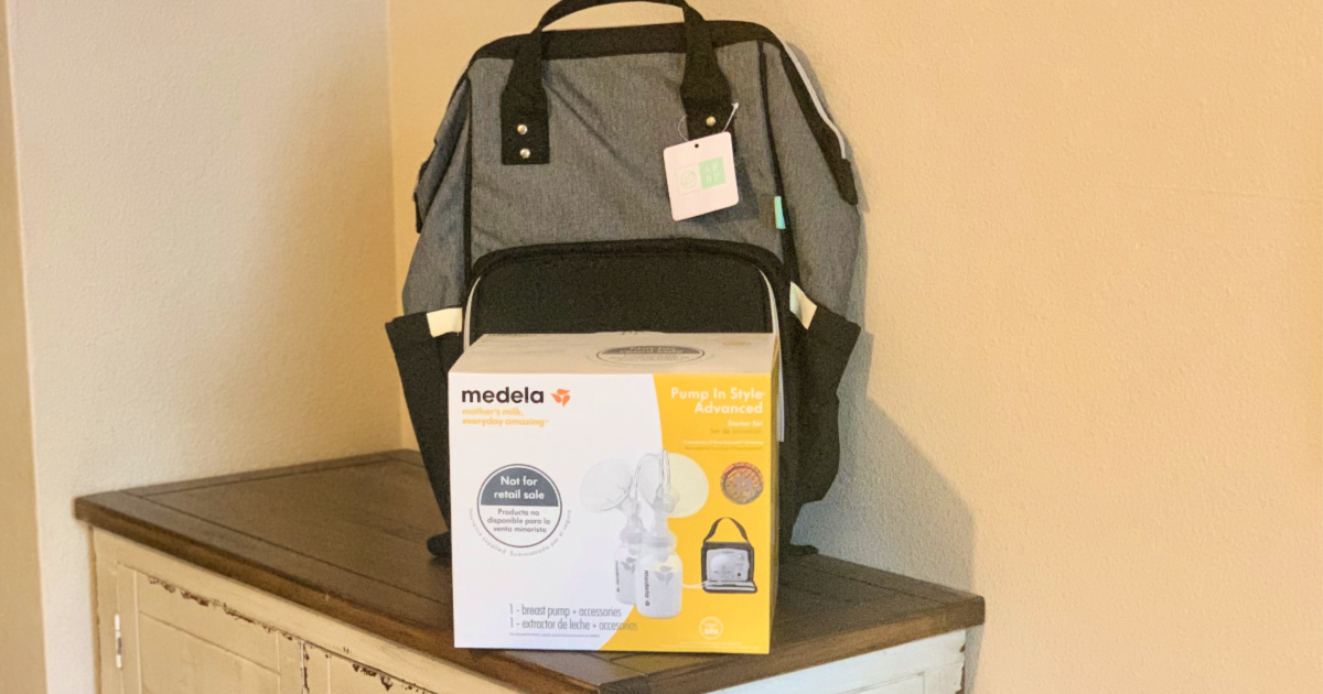 Medela Breast Pump with backpack sitting on counter top