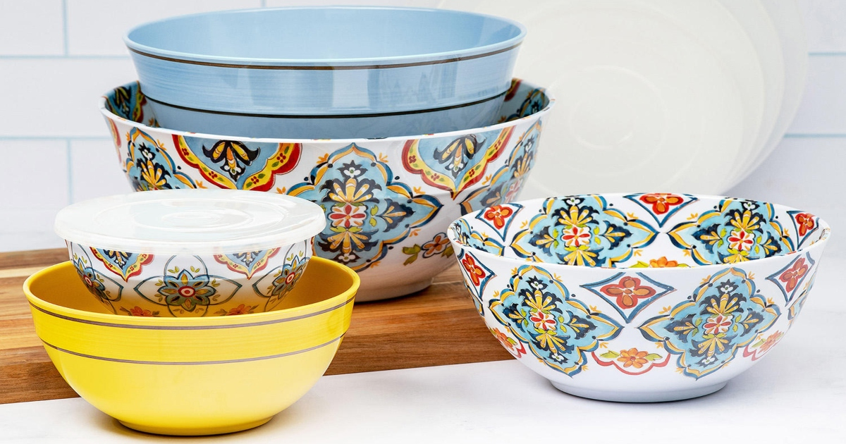 Melamine bowl set, in patterns with yellow white and blue