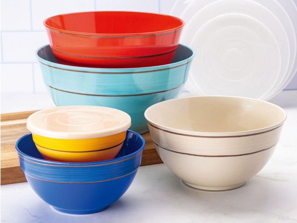 brightly colored bowl set displayed on counter
