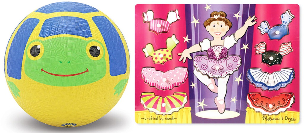 blue, yellow, and green turtle printed kickball and ballerina puzzle