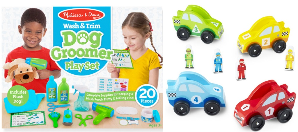 dog grooming playset and four wooden race cars