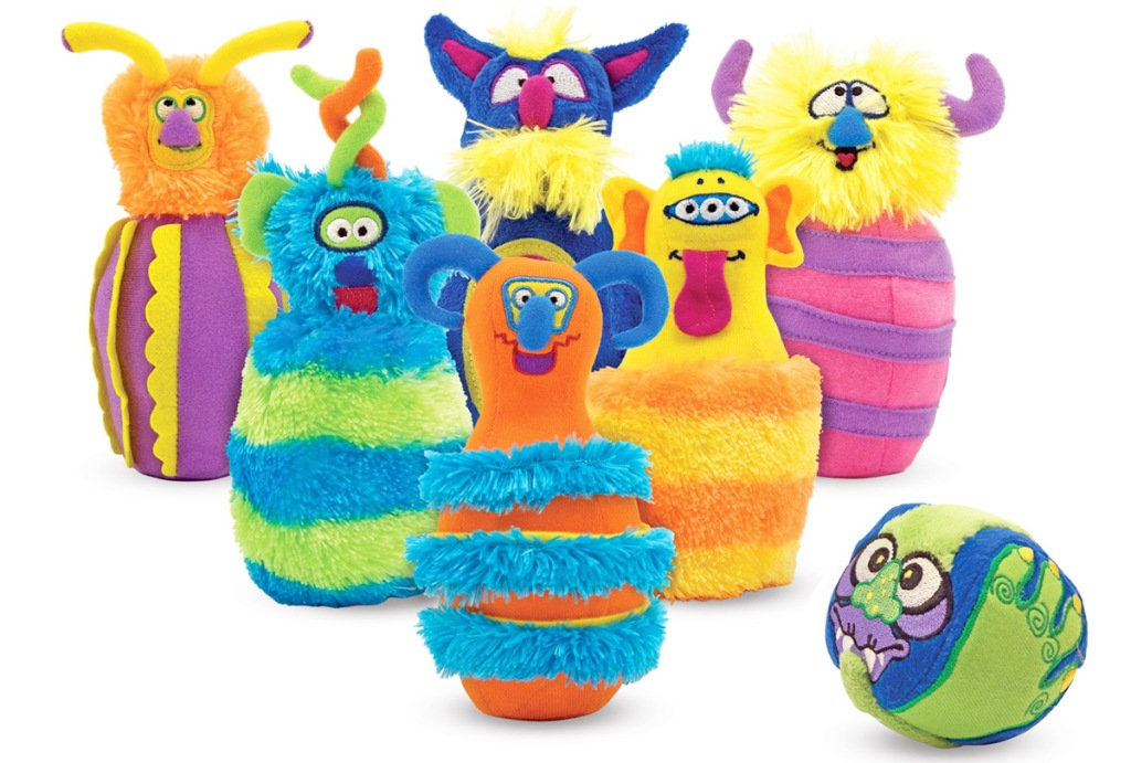 fuzzy creature shaped bowling pins and ball