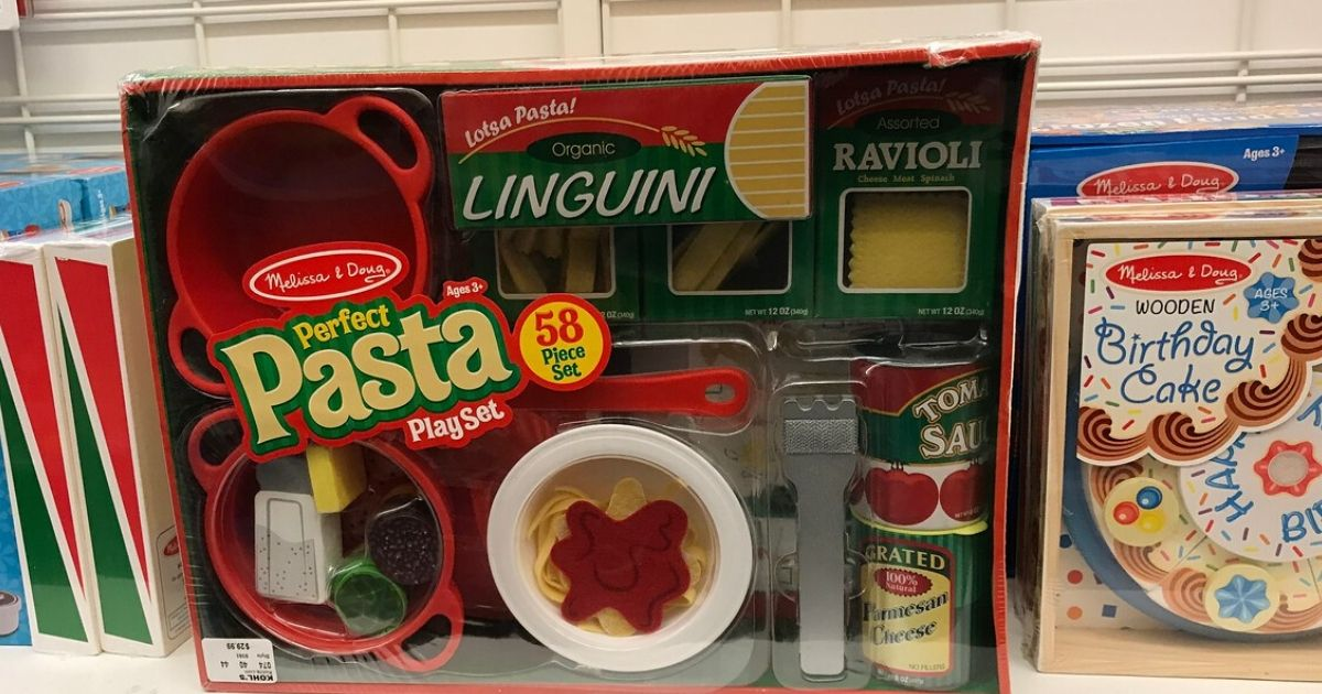 pasta play set with bowls, food, and accessories in packaging