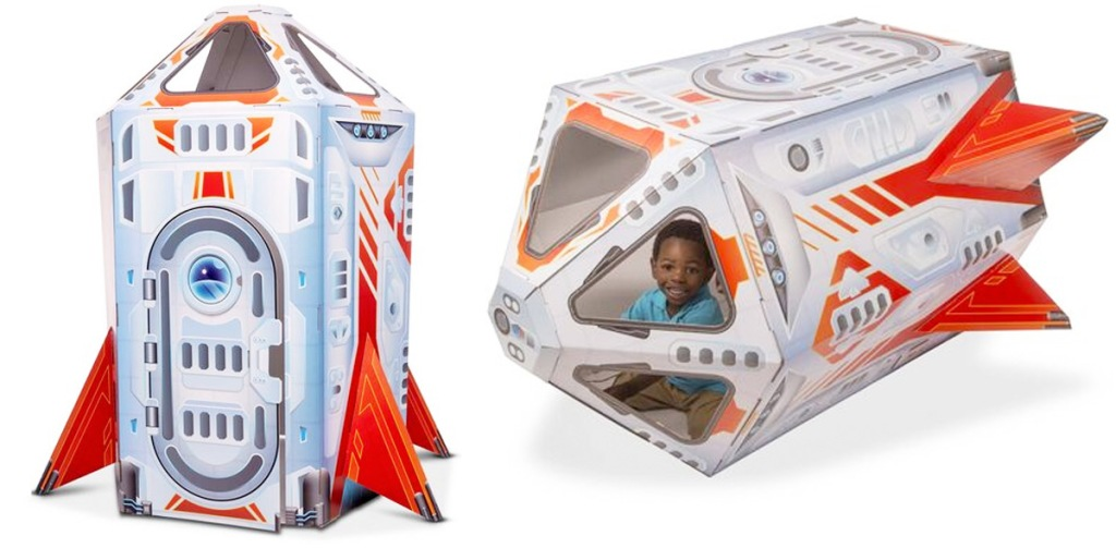 rocket ship shaped kids playhouse standing and on it's side with child sitting inside