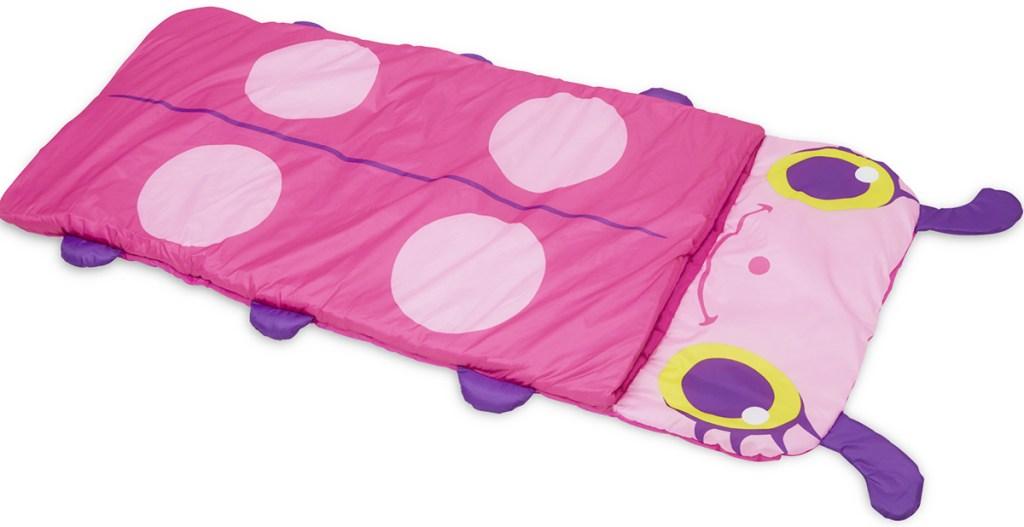 pink lady bug printed kids sleeping bag