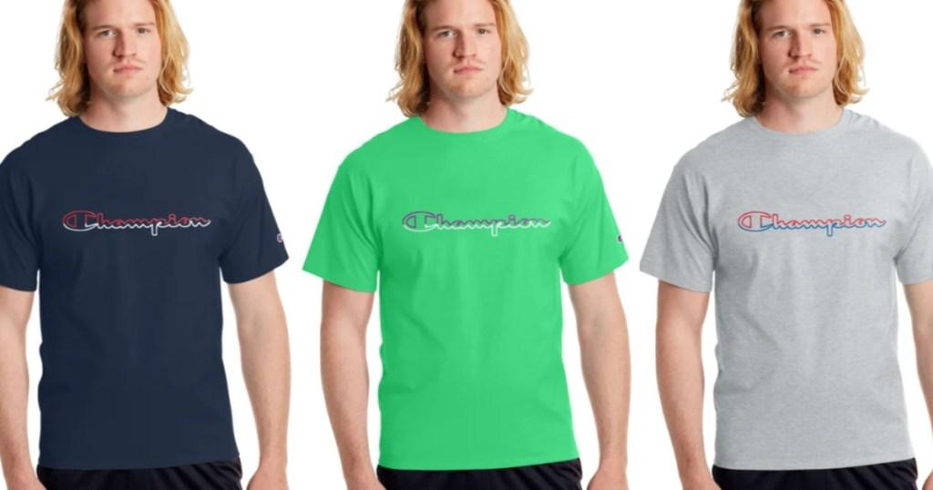 Men wearing champion shirts