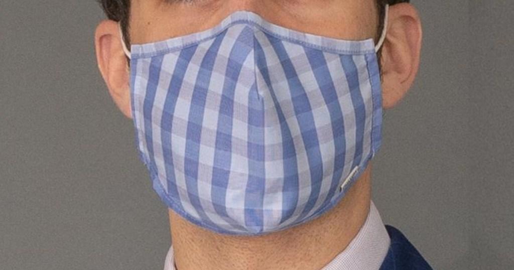man wearing Gingham printed face mask