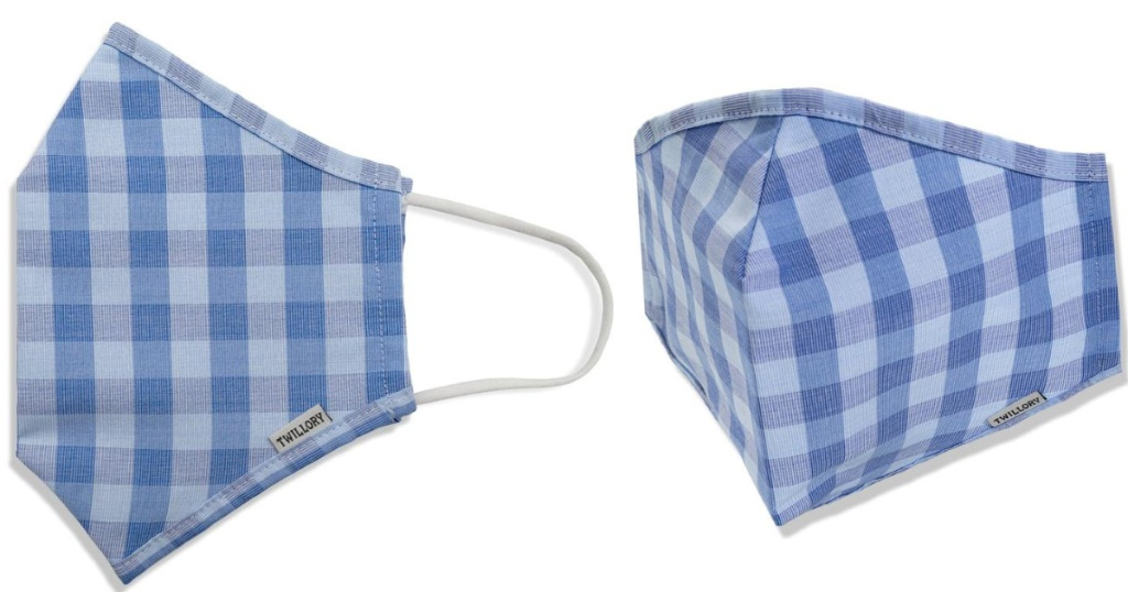 blue plaid face masks side and front view with Twillory tag on each