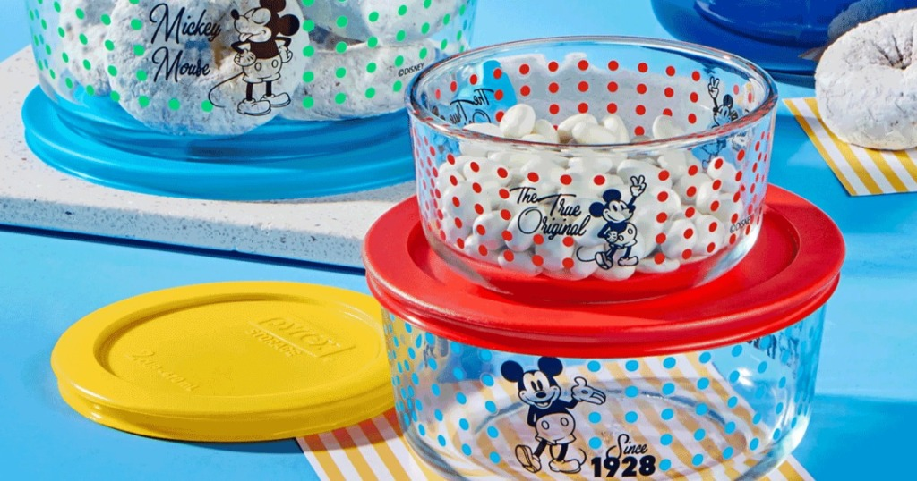 Mickey Mouse pyrex sets with food in them