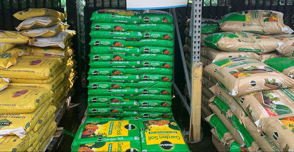 piles of Miracle-Gro garden soil at Lowe's