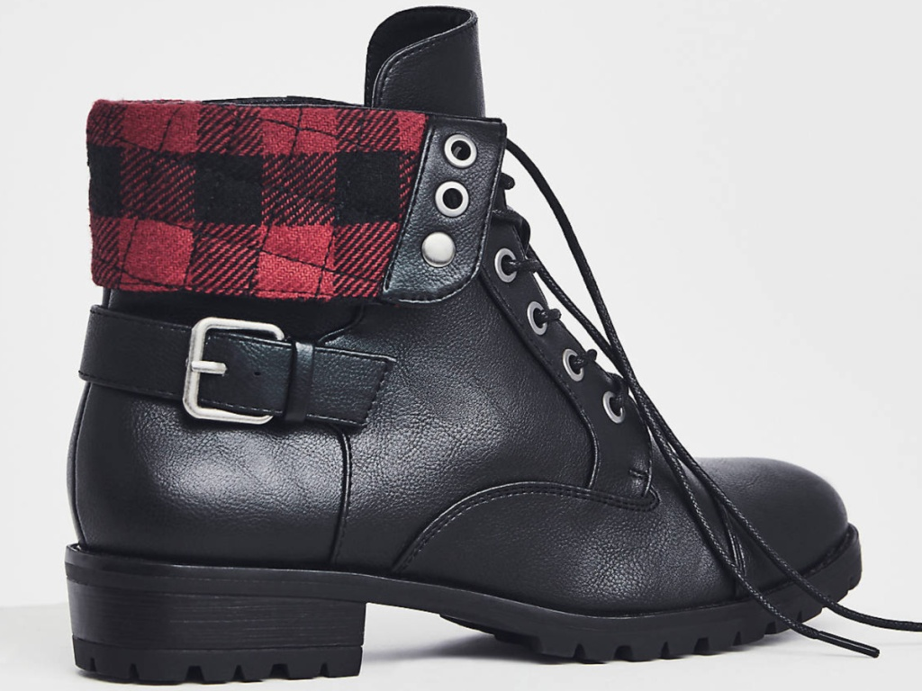 women's black boot with red plaid interior