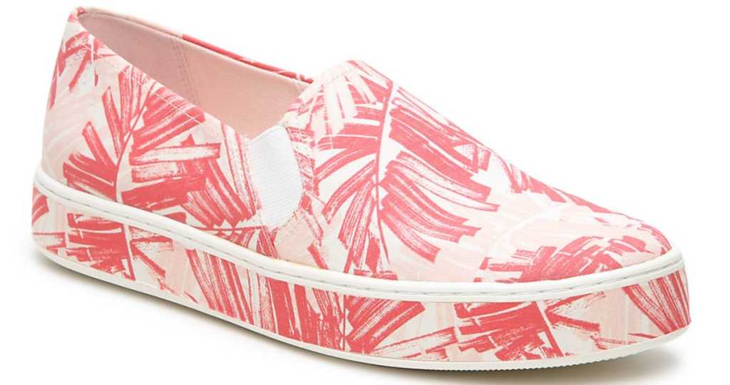women's pink and coral print slip-on sneaker