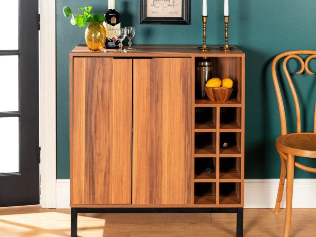Modern Bar Cabinet with Wine Storage in teak wood in dining room