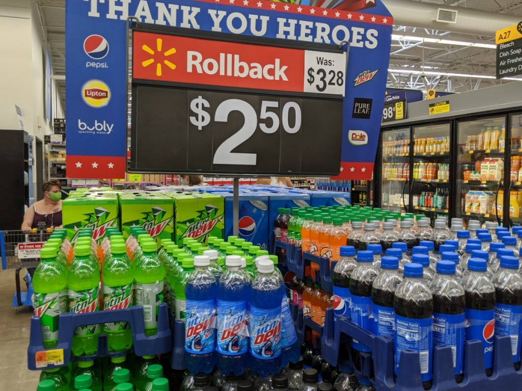 moutain dew rollback display at Walmart