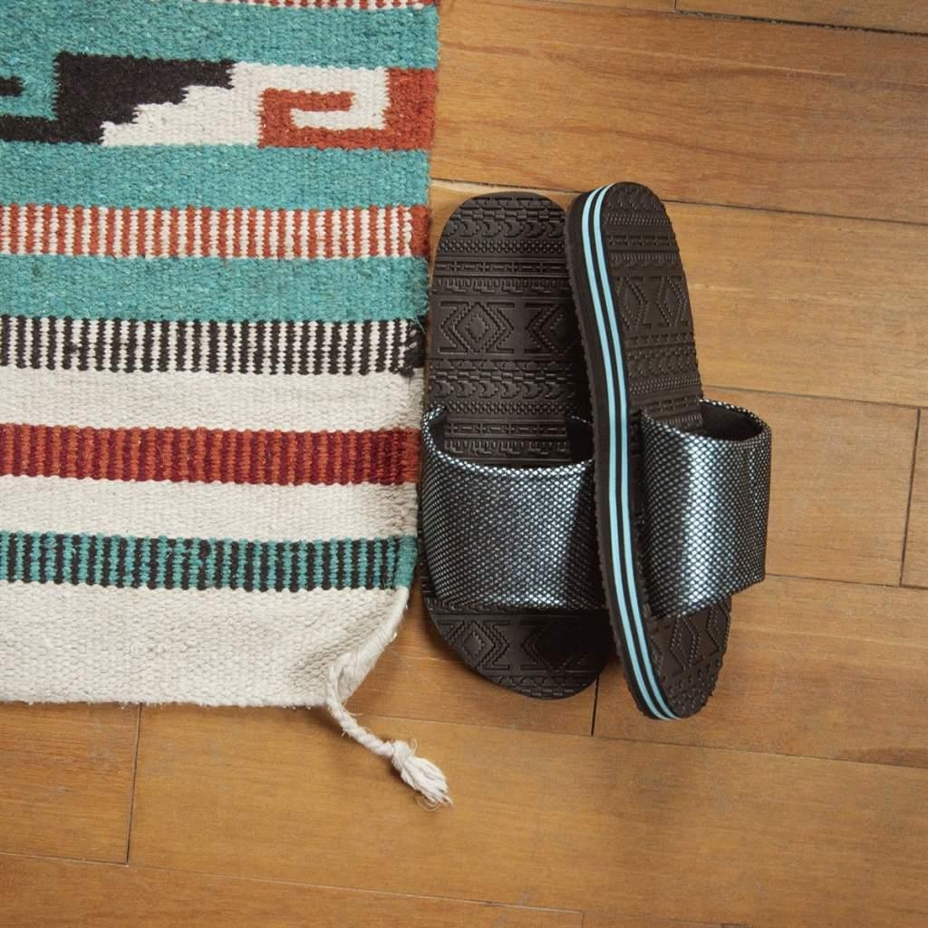 Muk Luks Myra Sandals next to Aztec rug