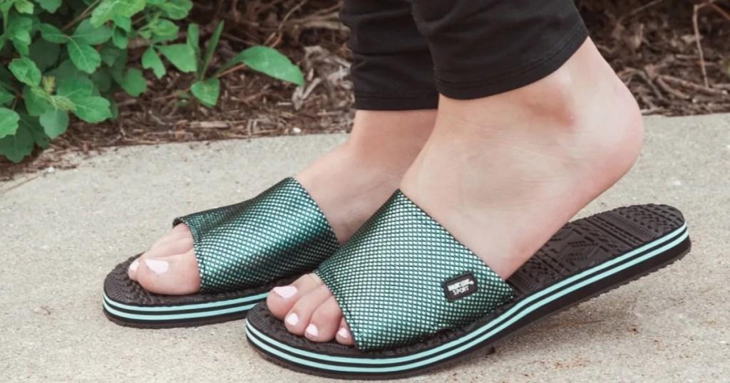 Muk Luks Myra sandals on woman