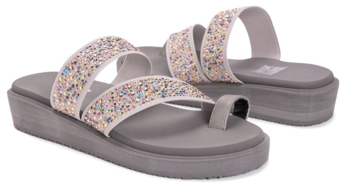 gray embellished sandals