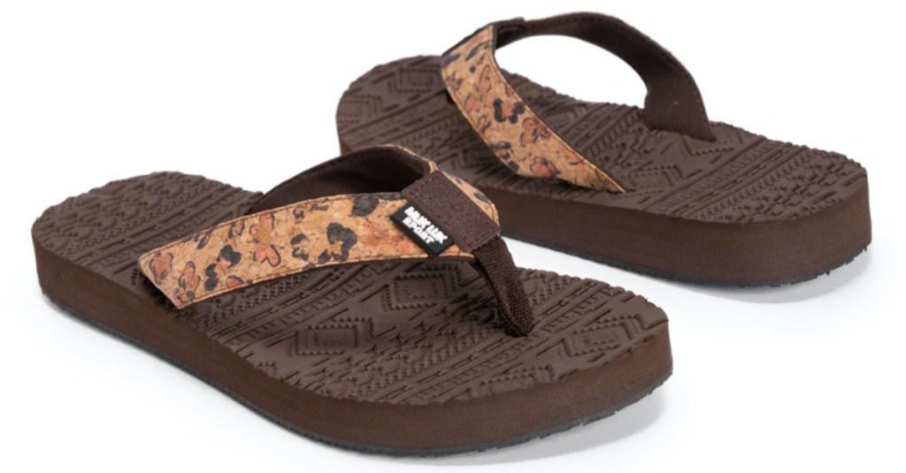 brown butterfly flip flops