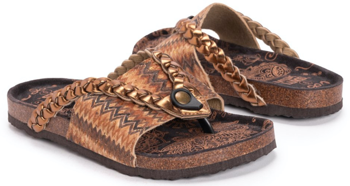 tan and brown paisley sandals