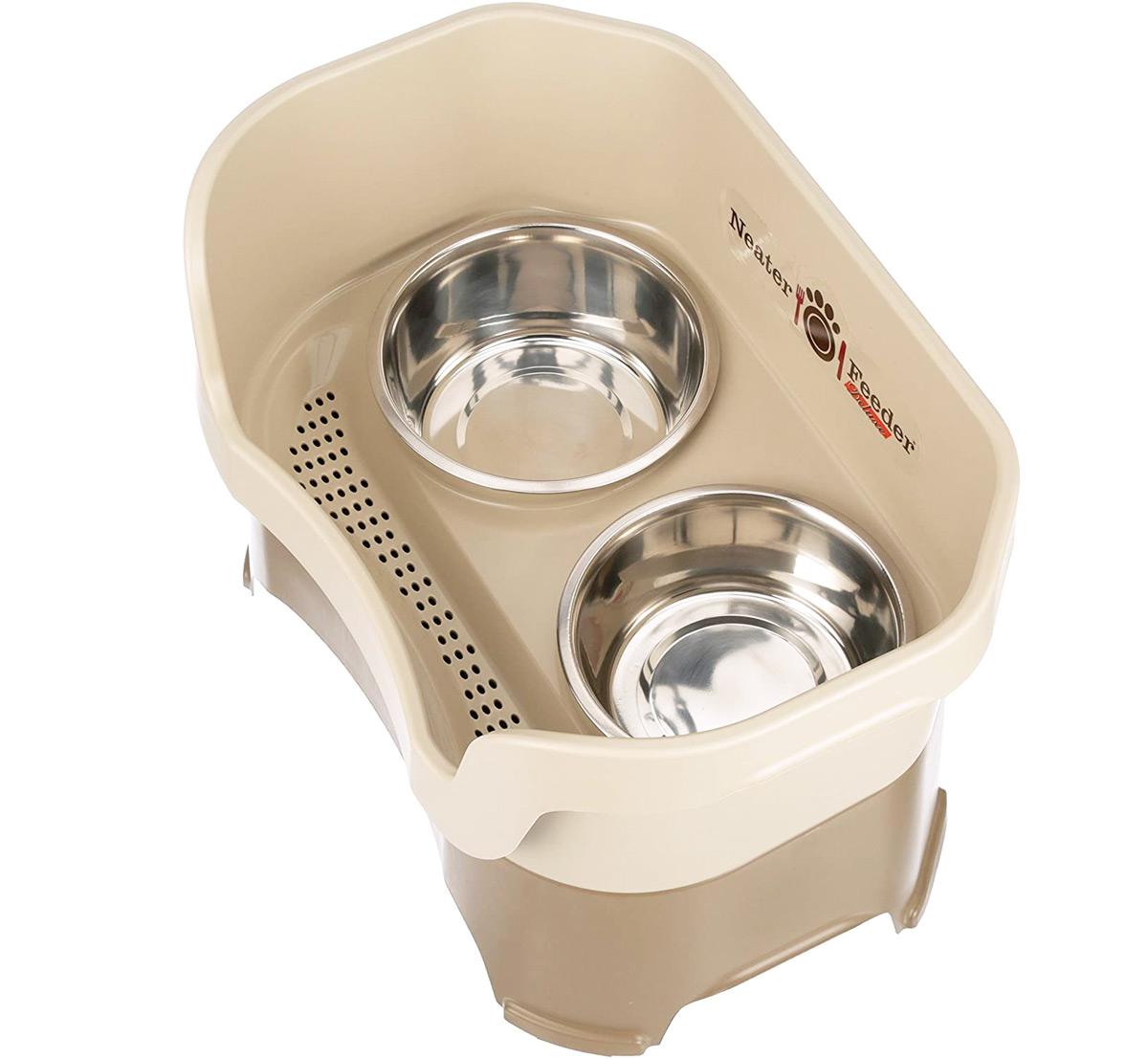 top view of elevated dog bowls with side walls and drain for spilled water