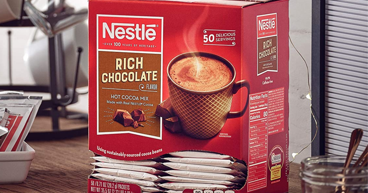 box of hot chocolate packets on kitchen counter