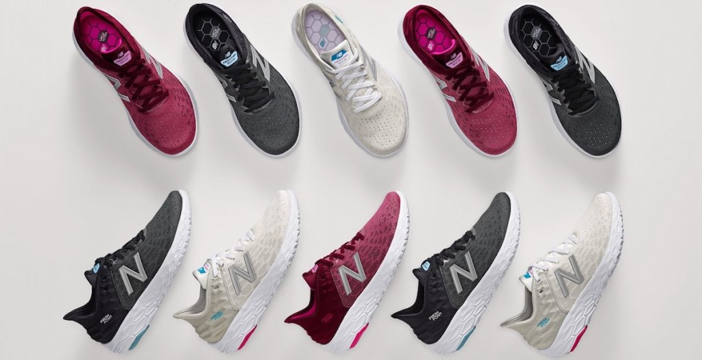 two rows of New Balance Shoes
