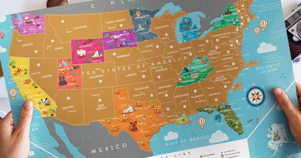 partially scratched Newverest Scratch Off USA Map - Kids Edition