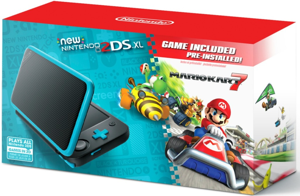 Box of turquoise Nintendo 2DS system