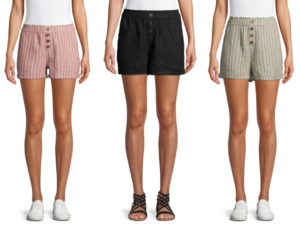 woman in pink stripe shorts, woman in black shorts, and woman in green stripe shorts