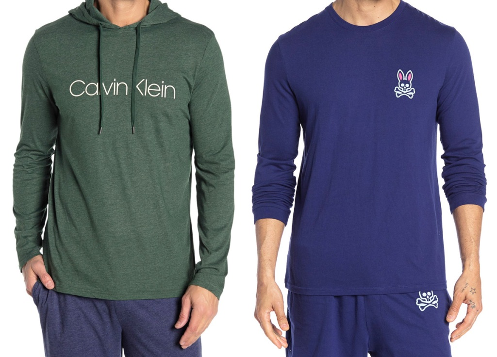 men modeling a green hoodie with white calvin klein logo on chest and blue long-sleeve shirt with white bunny on chest