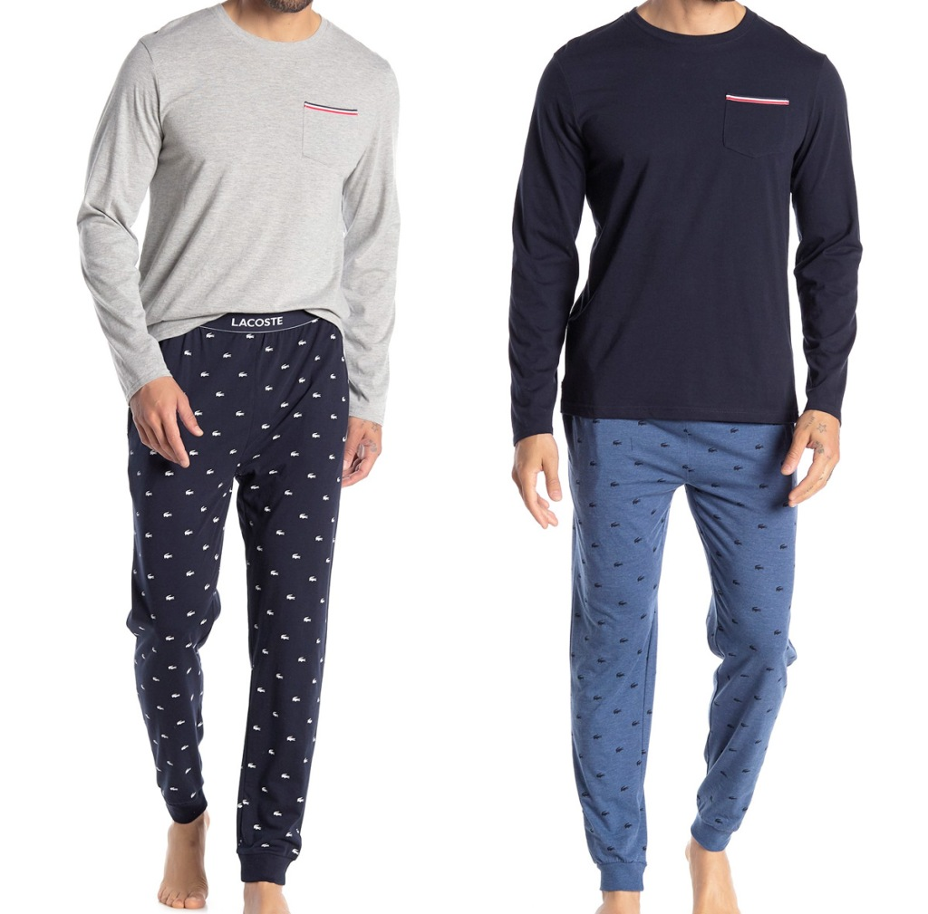 two men modeling solid color long sleeve pajama top and coordinating pajama leggings with all-over alligator print