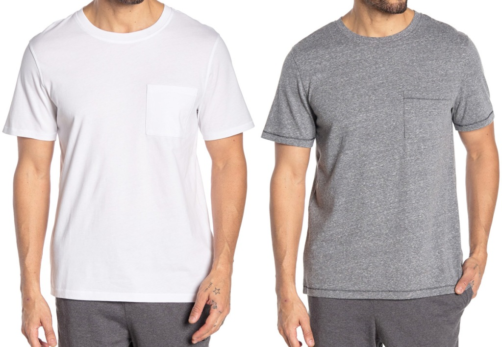 two men modeling shirt sleeve shirts with chest pockets in white and light grey colors