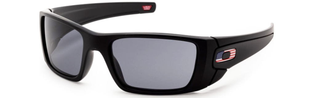 black oakley sunglasses with oakley logo in american flag print on side