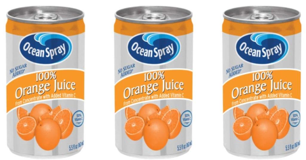 3 ocean spray orange juice mini cans