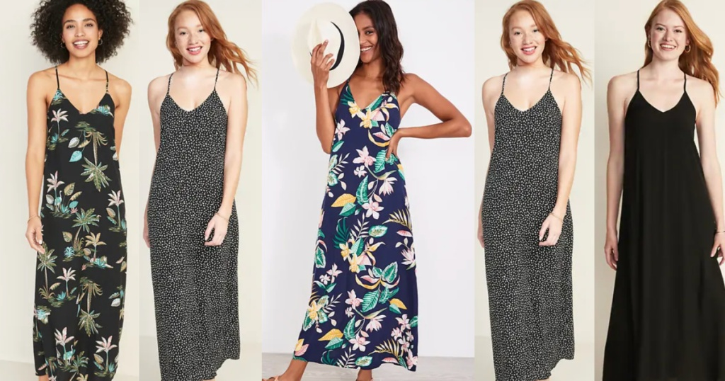 five women wearing old navy maxi dresses in solid, pattern, and flowers